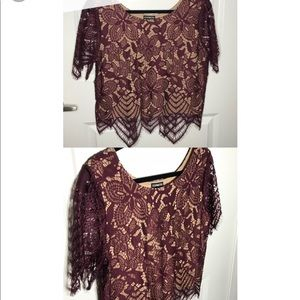 Maroon express lace crop top. Size large